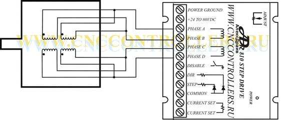 Схема подключения 8-ти выводного мотора с параллельным подключением обмотки