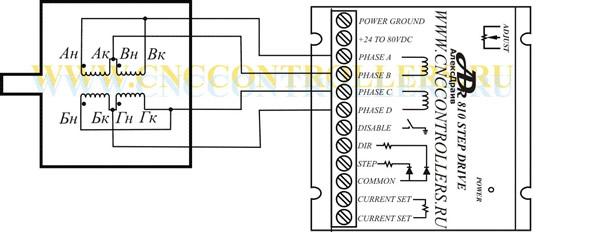 Подключение двигателя типа ДШИ 200: ДШИ 200 1, ДШИ 200 2, ДШИ 200 3 кдрайверу